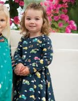 Frugi Space Blue Rainbow Roads Sofia Skater Dress - Ethically sourced organic kids clothing.